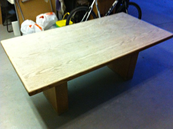 The table, sanded and ready for a new coat.