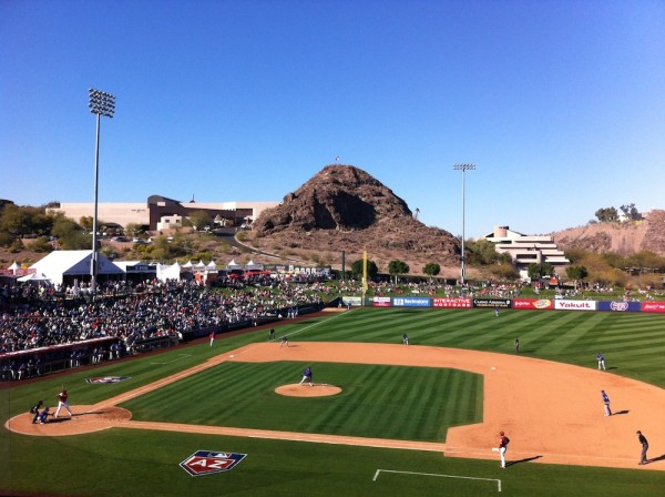 Tempe Diablo Stadium. After half a game off third base, we retreated to the shade of an upper deck pavilion.
