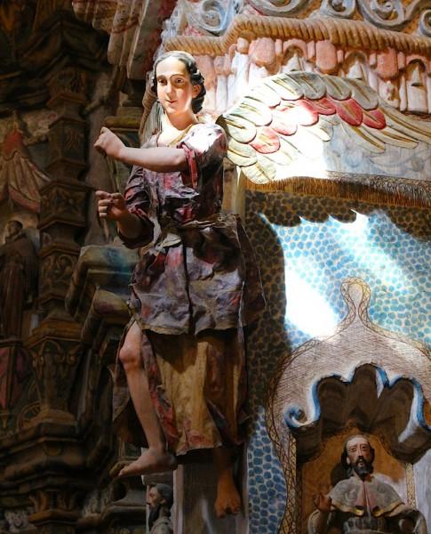Transept angel in light, San Xavier del Bac Mission.
