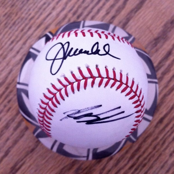 What a souvenir!  A ball that both Joe Madden and Kyle Schwarber took time to sign.