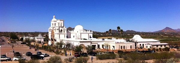 San Xavier del Bac Mission from nearby Grotto Hill.