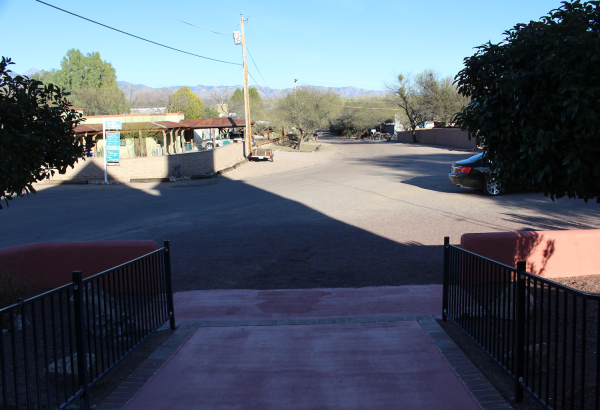"""""""The Spot"""": the place in front of the old mission church where priests blessed Anza and his party before they headed down this road to the river..."""